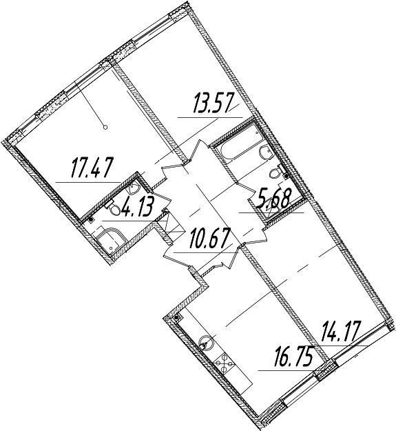 4Е-к.кв, 82.44 м², 2 этаж