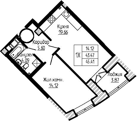 2Е-к.кв, 45.3 м²