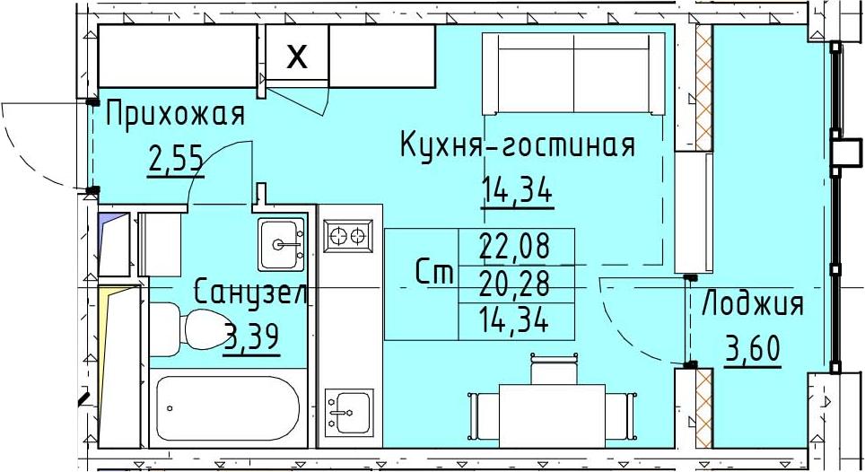 Студия, 22.08 м², 8 этаж – Планировка