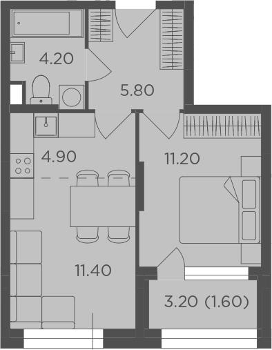 2-к.кв (евро), 40.7 м²