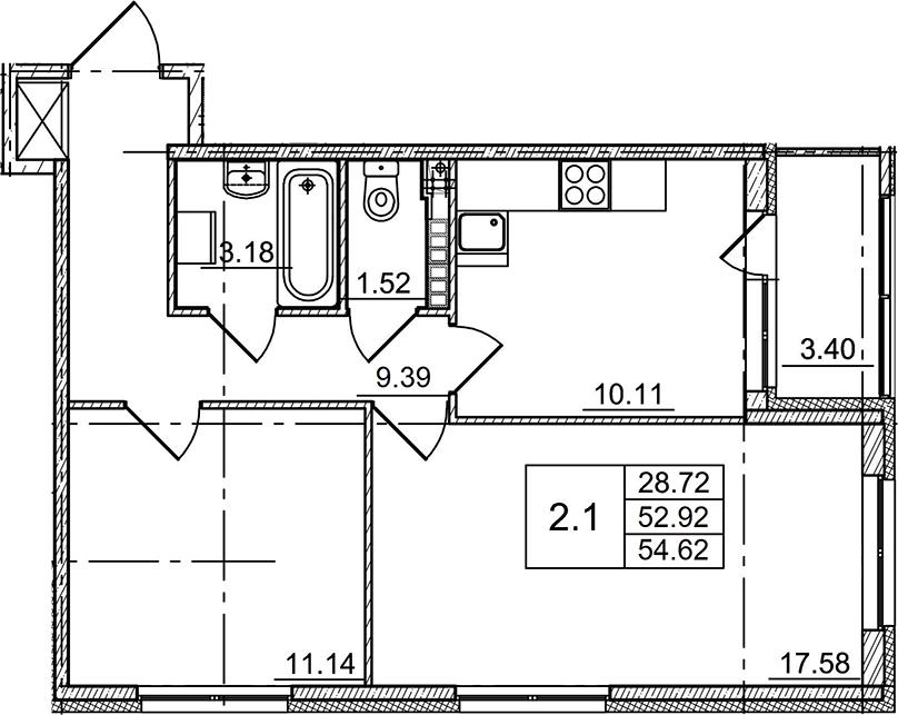 2-комнатная, 54.62 м²– 2