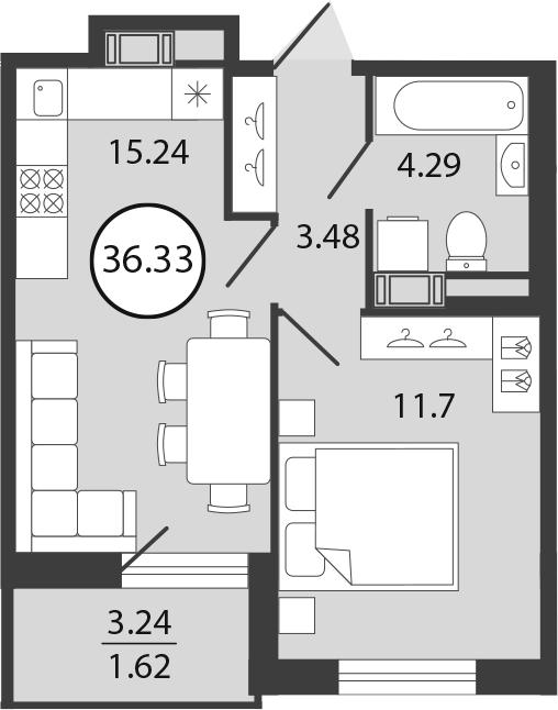 2Е-к.кв, 36.33 м²