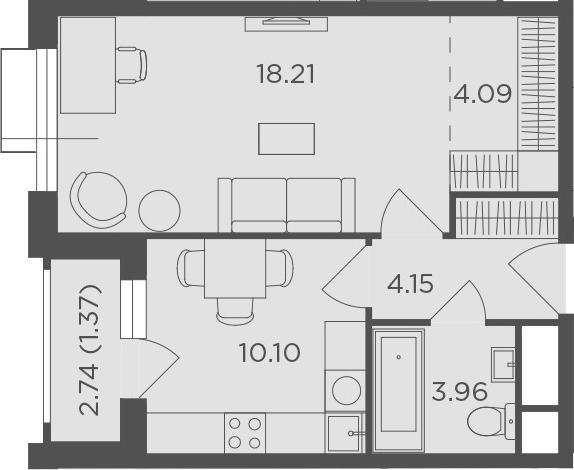 1-комнатная, 41.88 м²– 2