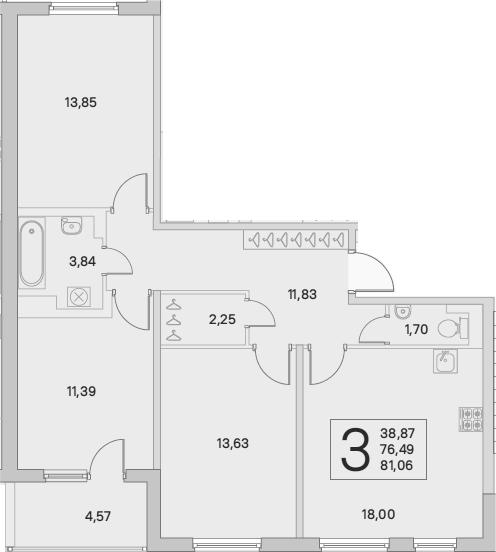 4Е-комнатная, 78.78 м²– 2