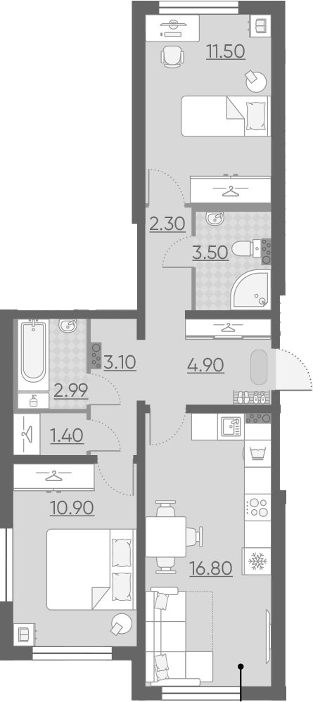 3Е-комнатная, 57.39 м²– 2