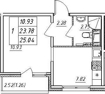 1-к.кв, 26.3 м²