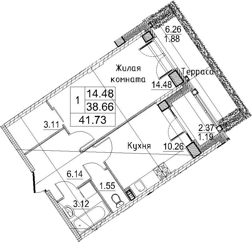 1-к.кв, 47.31 м²