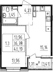 2Е-к.кв, 36.78 м²