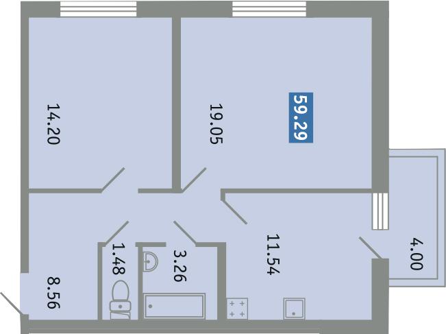 2-к.кв, 62.09 м²