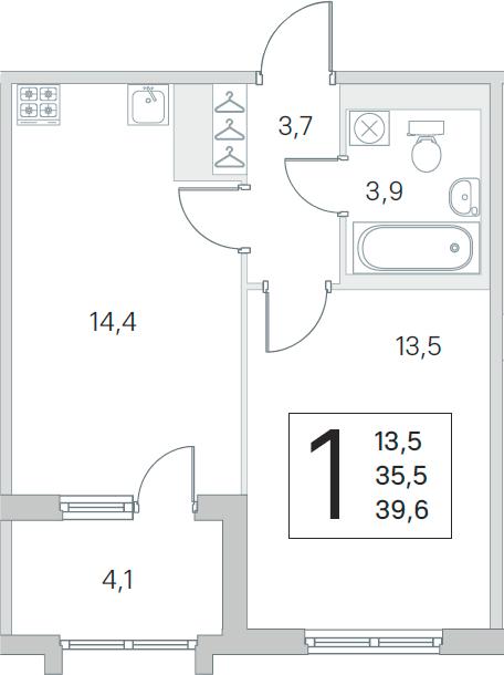1-комнатная, 35.5 м²– 2