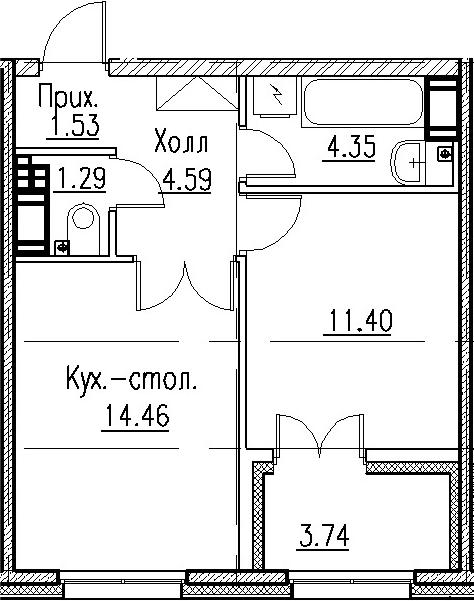 2-к.кв (евро), 41.36 м²