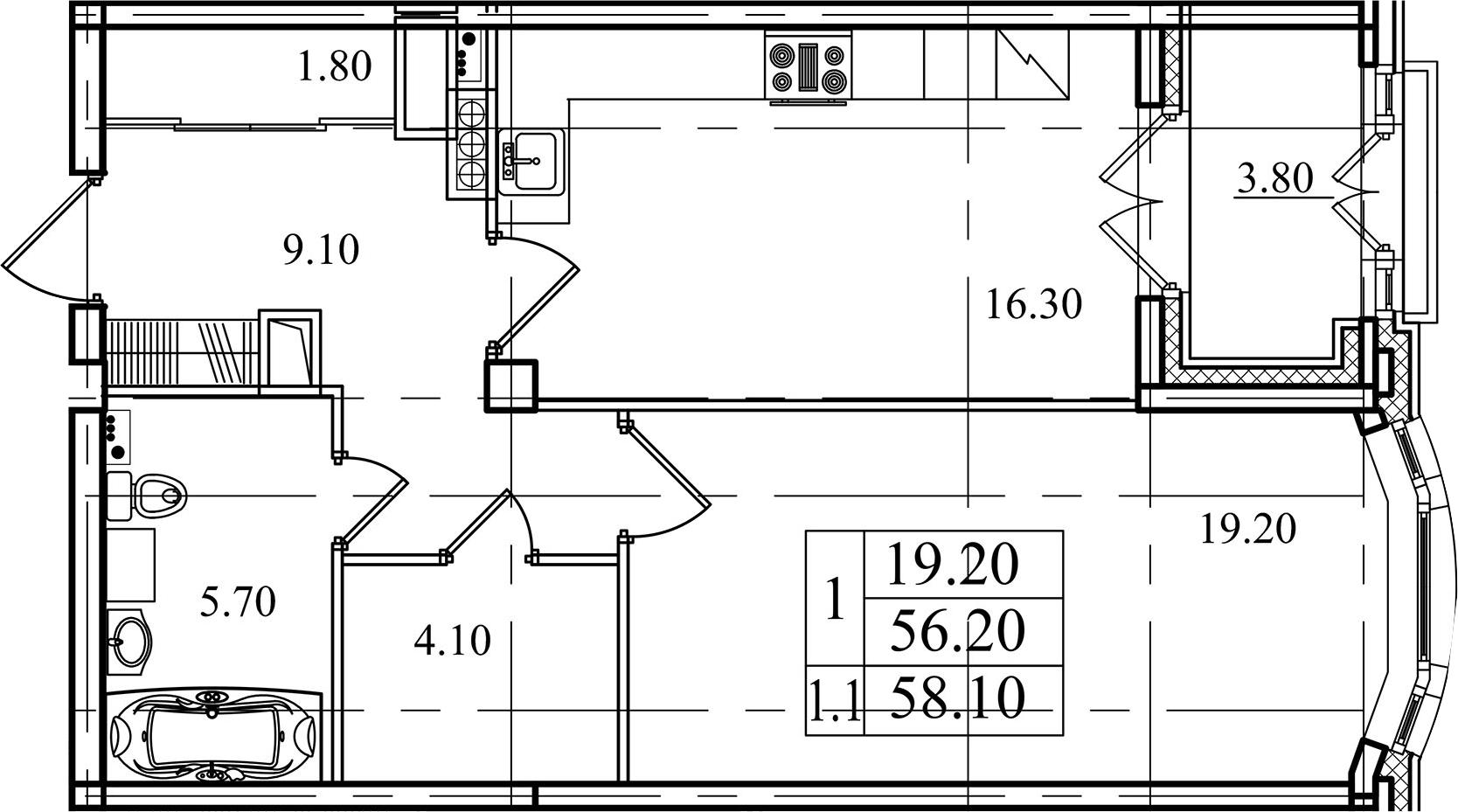 1-комнатная, 56.2 м²– 2