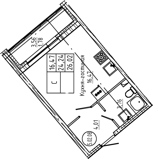 Студия, 26.02 м²