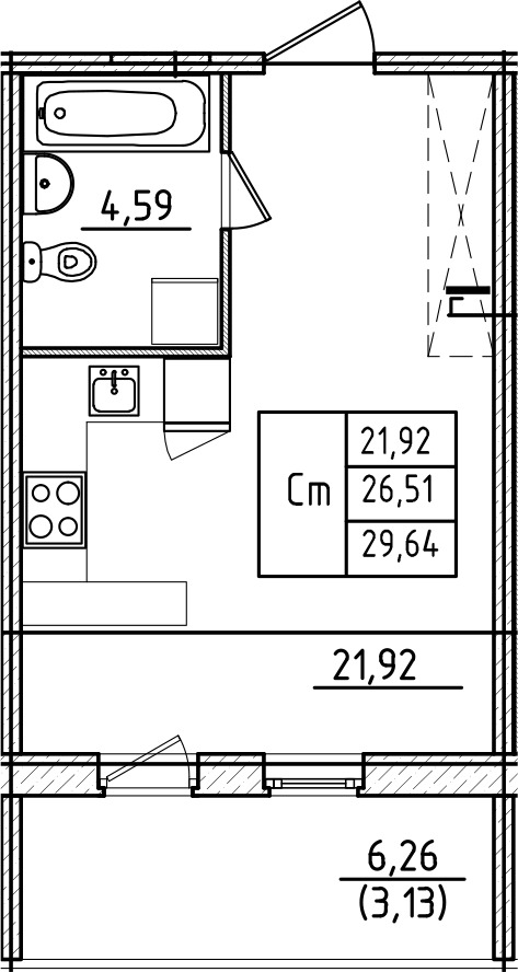 Студия, 32.77 м²