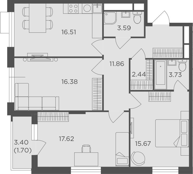 3-к.кв, 89.5 м²