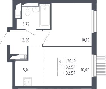 2Е-комнатная, 32.54 м²– 2