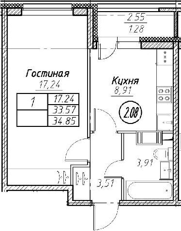 2Е-к.кв, 34.85 м², от 2 этажа