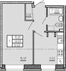 1-к.кв, 32.22 м², 1 этаж