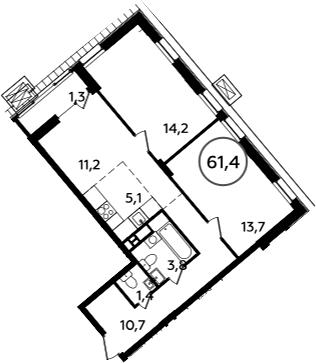 3-к.кв (евро), 62.7 м²