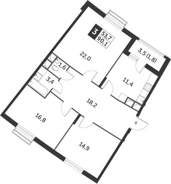 3-комнатная квартира, 90.1 м², 7 этаж – Планировка