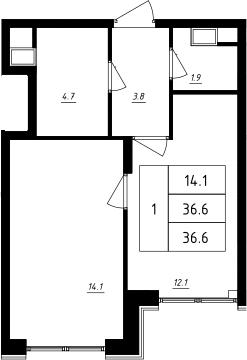 1-к.кв, 36.6 м², 9 этаж