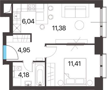 2Е-к.кв, 37.96 м², 13 этаж