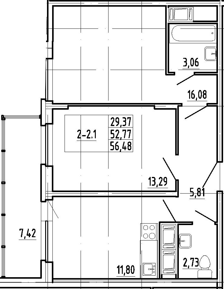 2-комнатная, 52.77 м²– 2