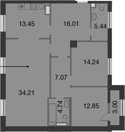 3-к.кв, 109.51 м²