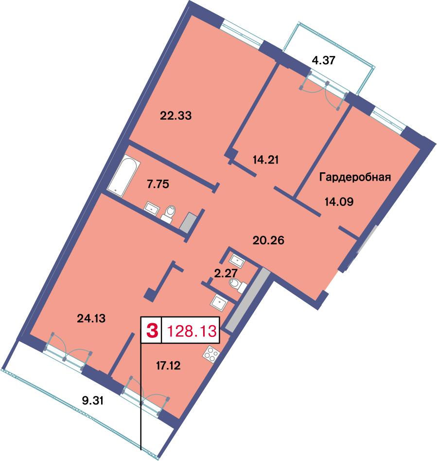 4-к.кв (евро), 135.85 м²