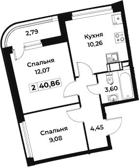 2-к.кв, 40.86 м²