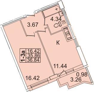 1-комнатная, 36.84 м²– 2