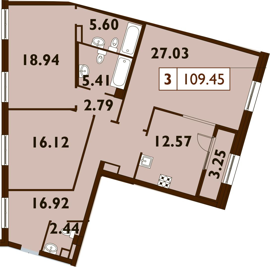 3-комнатная, 109.45 м²– 2