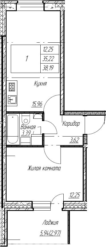 2Е-к.кв, 38.19 м², 2 этаж