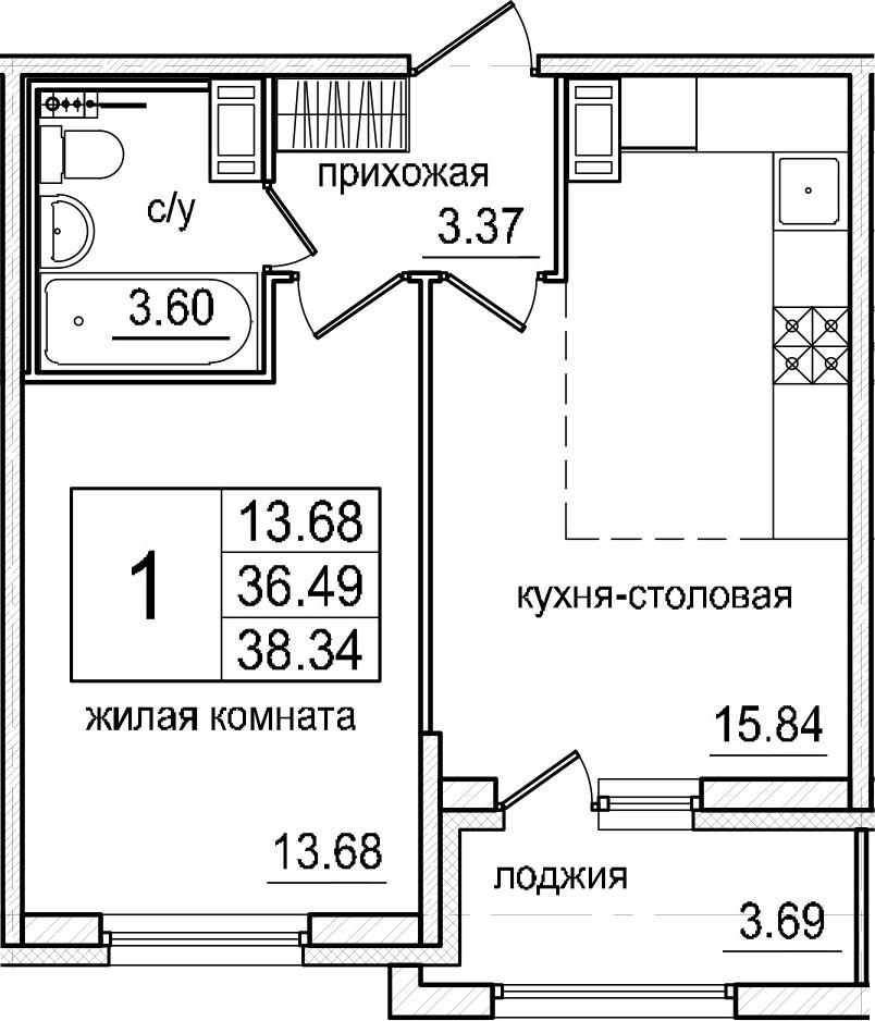 2-к.кв (евро), 40.18 м²