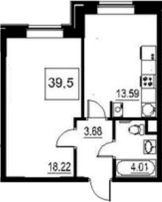 1-к.кв, 39.2 м²