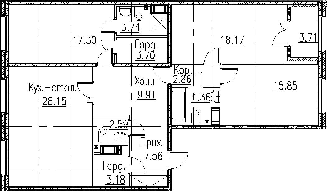 4-к.кв (евро), 121.08 м²