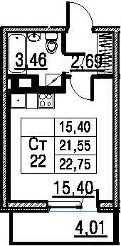 Студия, 25.56 м²