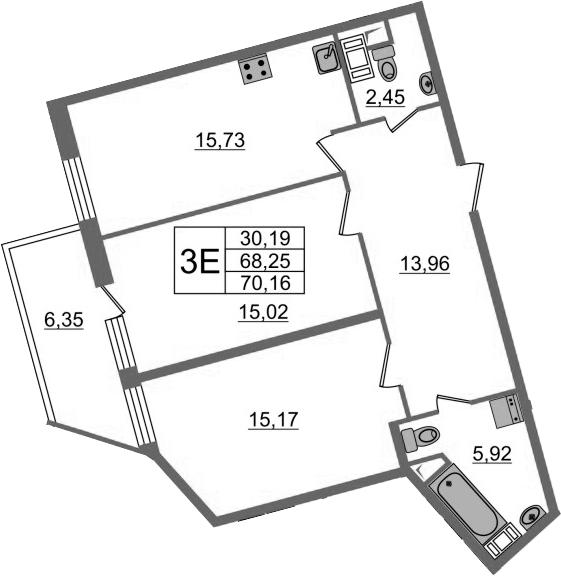3-к.кв (евро), 74.61 м²