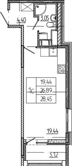Студия, 26.89 м²– 2