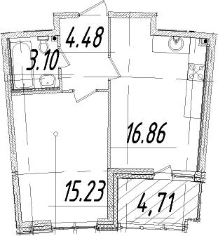 1-к.кв, 42.03 м², 11 этаж