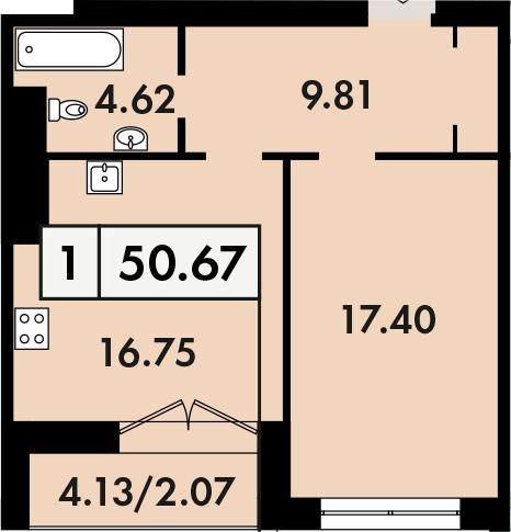 1-комнатная, 50.6 м²– 2