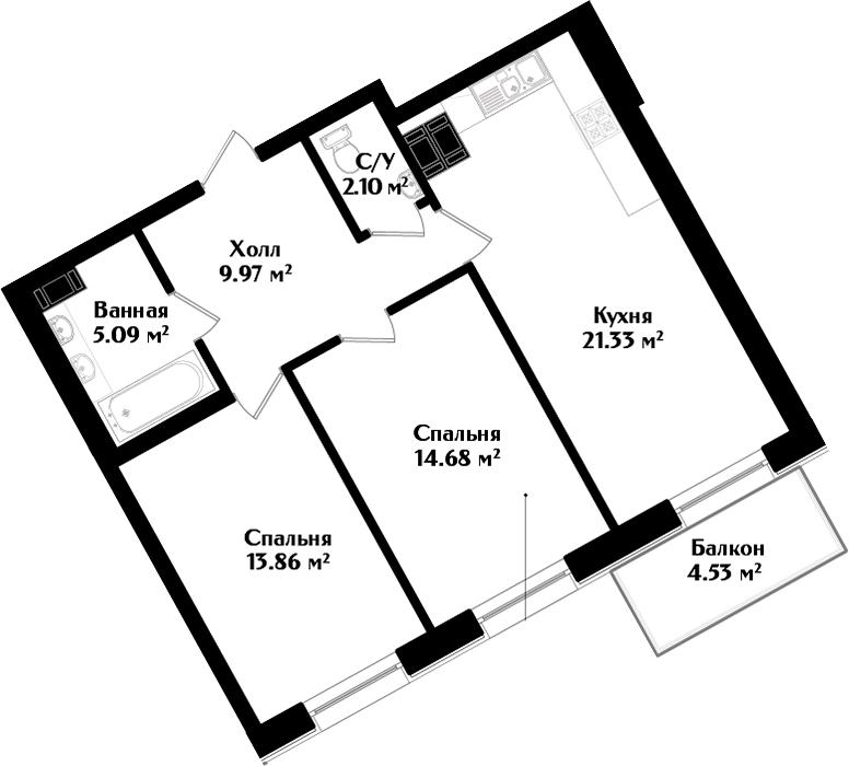 3-к.кв (евро), 71.56 м²