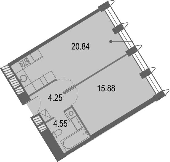 2Е-комнатная квартира, 45.52 м², 3 этаж – Планировка