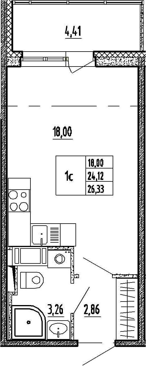 Студия, 24.12 м², 4 этаж