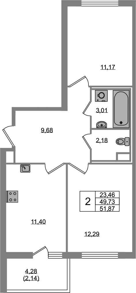 2-к.кв, 49.73 м²