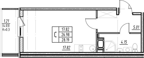 Студия, 31.01 м²