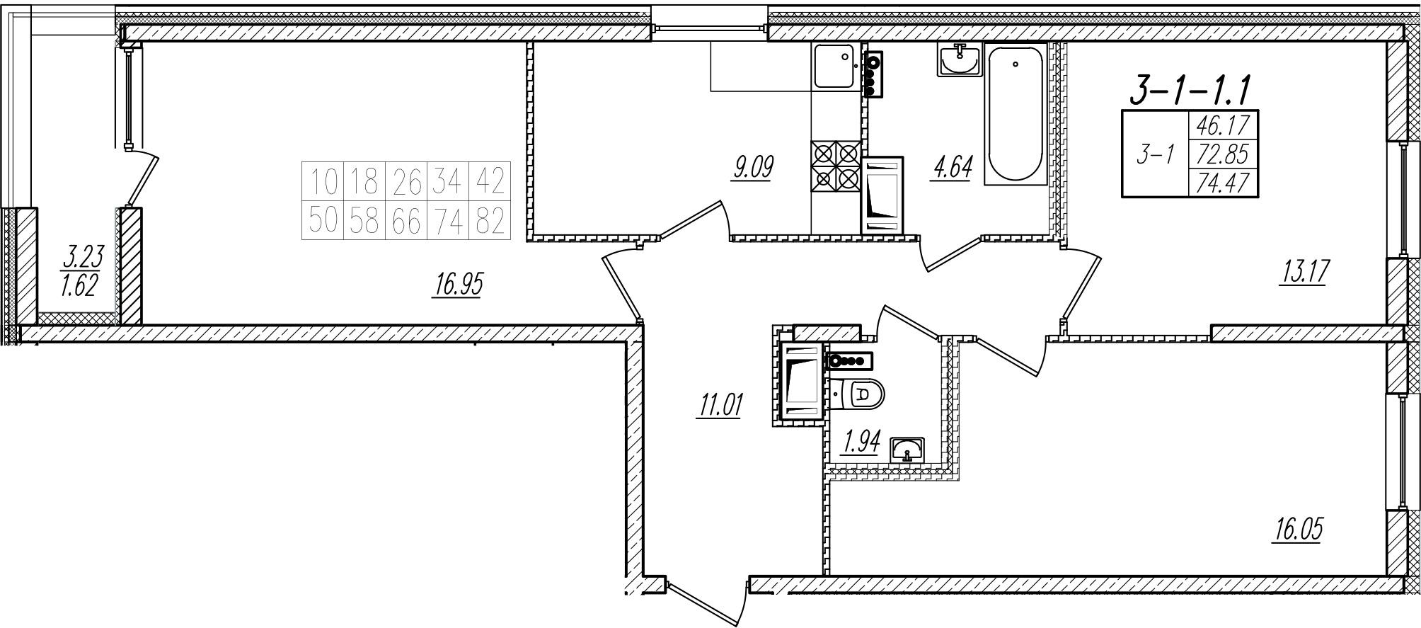 3-к.кв, 74.47 м²