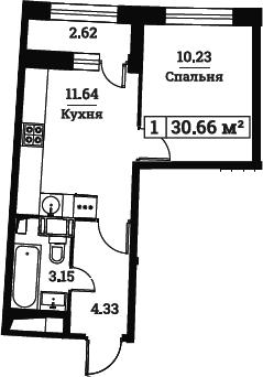 1-к.кв, 30.66 м², от 3 этажа
