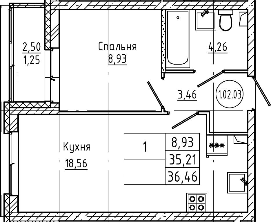 2Е-комнатная квартира, 36.46 м², 2 этаж – Планировка