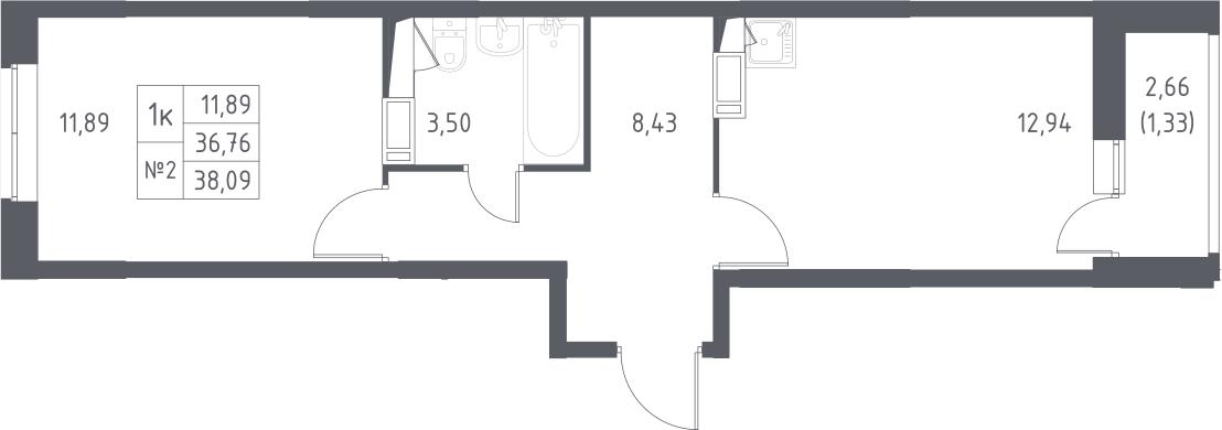 1-к.кв, 39.42 м²